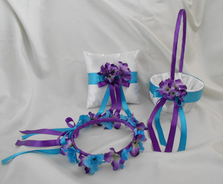 Wedding - Customizable Purple Turquoise Wedding Accessories Bridal Ring Bearer Pillow Flower Girl Basket Halo  Custom Made Any Colors FREE SHIPPING