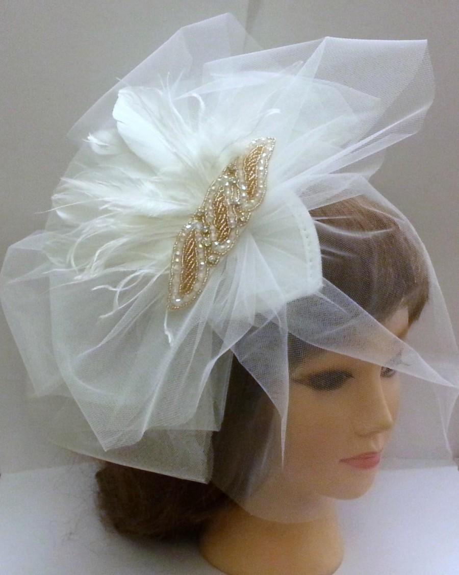 Wedding - POUF fluffy White ,Ivory  blusher Veil vintage inspired gold crystal, pearls, & feather fascinator wedding Bridal  teardrop hatblusher  veil