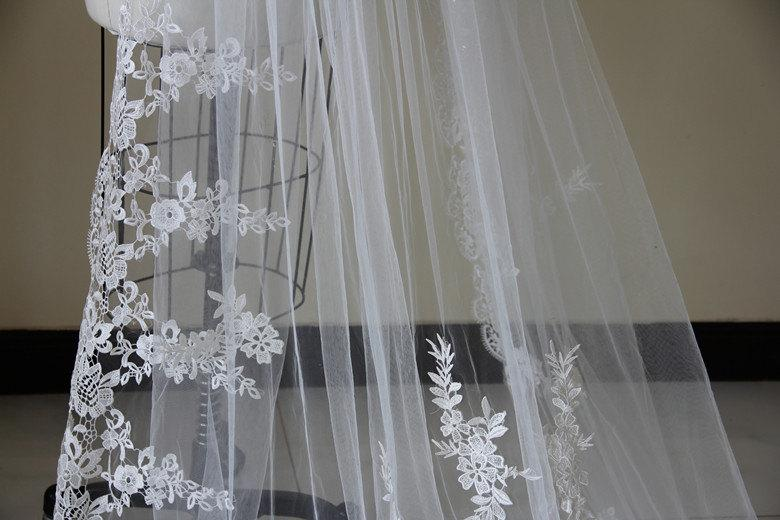Hochzeit - Bridal Lace Veil, Cathedral Lace Veil, Wedding Accessory made of Venice Lace Flower along full edge.