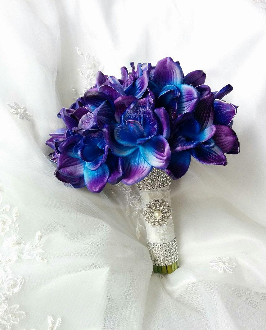 Wedding Natural Touch Blue Purple Dendrobium Orchids Wedding Bouquet ...