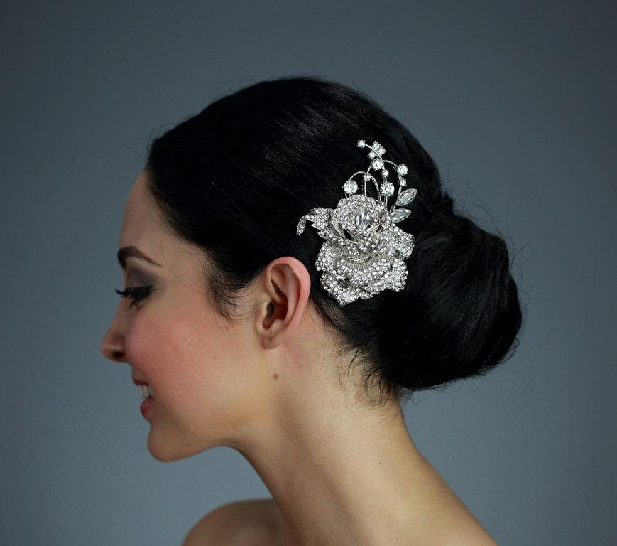 Свадьба - Wedding Rhinestone Flower Hair Comb OR Brooch Pin - Ready to ship in 1 week