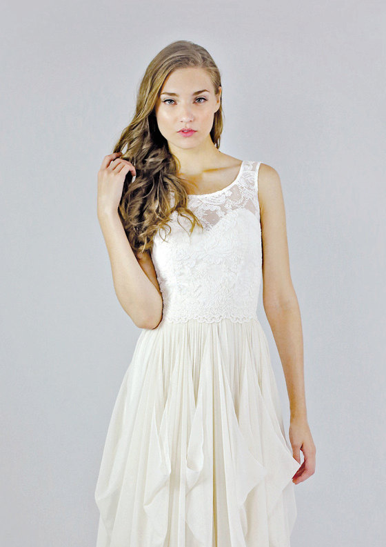 Mariage - Sleeveless Lace Wedding Separate - Clementine Top