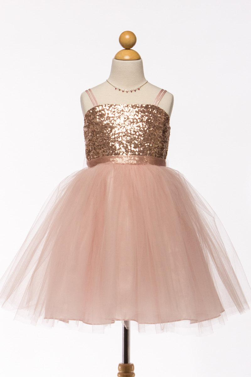 Mariage - Stunning Blush Sequin Dress with Tulle Skirt