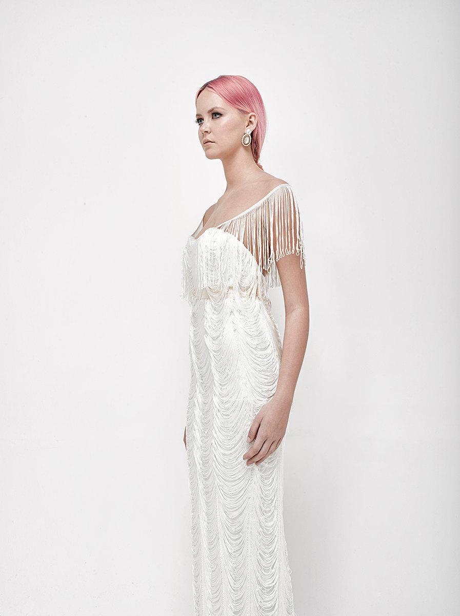 Wedding - fringes wedding dress vintage style white wedding dress with v back, wedding gown, ivory weding gown, low back bridal dress