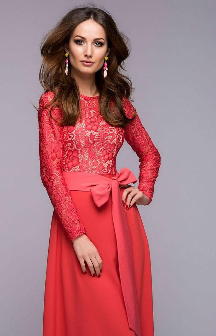 ffc88aa650 Chic Maxi Dress Coral.Top Lace Dress Evening .Full Skirt Dress with Belt.