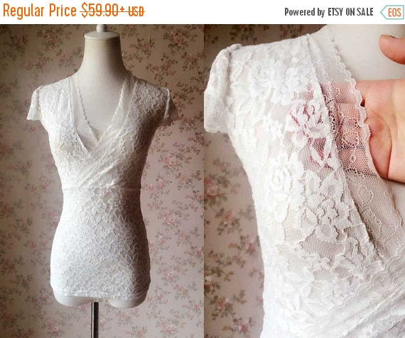 White Lace Wedding Top Separate Women Cap Sleeved Summer Shirts Casual Custom Size