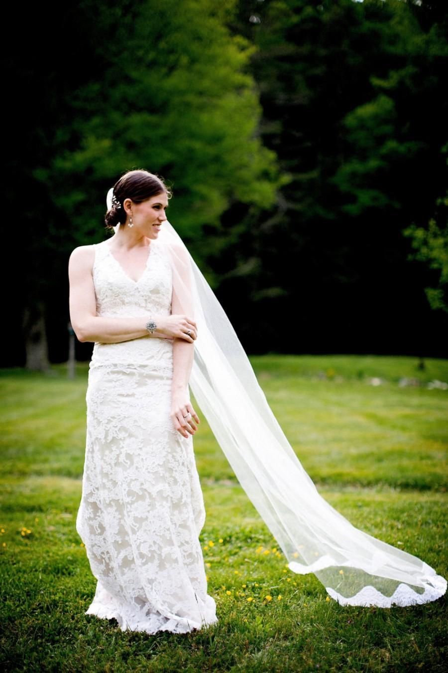Свадьба - Wedding Veil, Lace Bridal Veil, Long Tulle Veil, Lace Chapel Length Veil, Lace Cathedral Veil