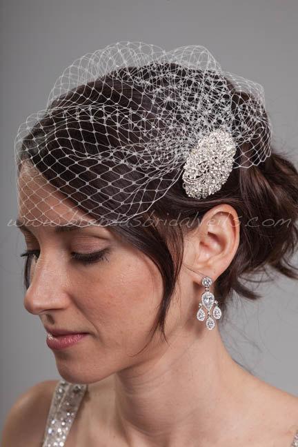 Свадьба - Cage-Cap Birdcage Veil, Flapper Style Veil, Rhinestone Headpiece - Contessa