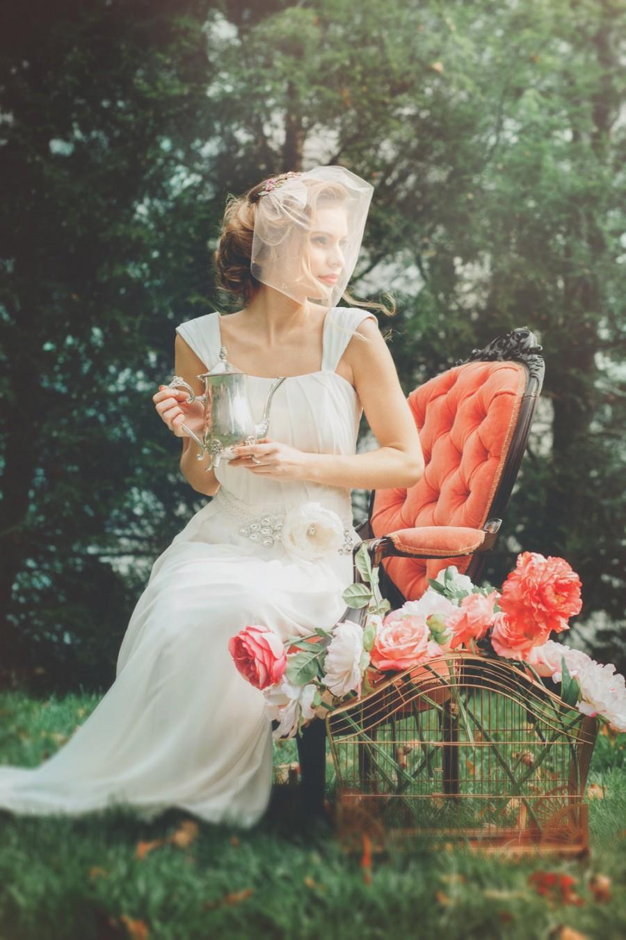 زفاف - Blush Pink Tulle Blusher Birdcage Wedding Veil with Crystal Rhinestone Piece - Tiny Veil - Birdcage Veil - Short Veil - Havanah