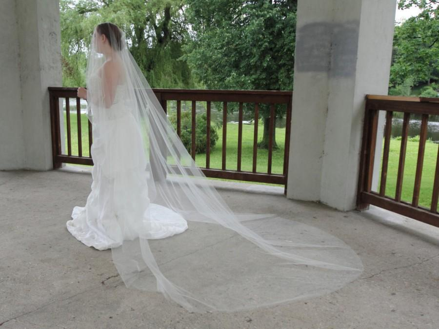 "Hochzeit - Drop veil Regal Cathedral length with blusher optional 150"" Oval Drop Veil with Edging options"