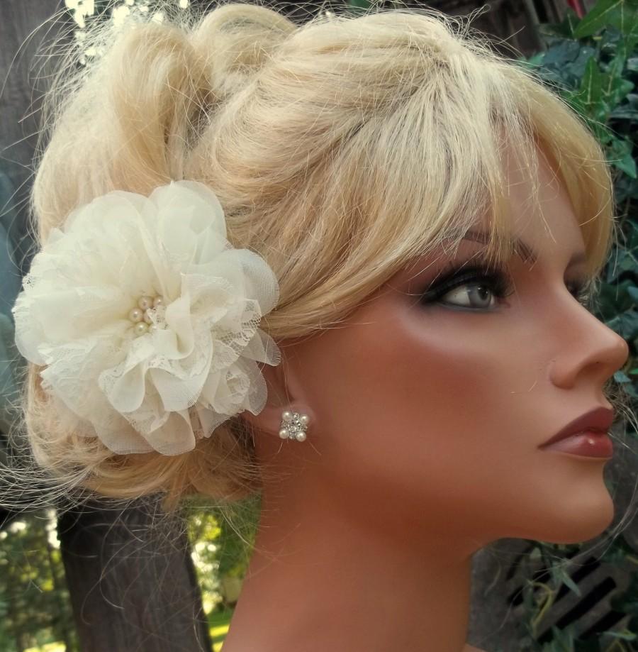 Wedding - Wedding Fascinator, Soft Chiffon and Bridal Lace, Bridal Fascinator, Wedding Hair Clip, Flower Fascinator, Bride, Bridesmaids, Gift