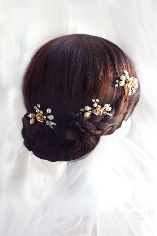 Hochzeit - pearl hair pins, gold hair pins, bridal hair pin, ivory pearl and rhinestonehair pins, wedding hairpin, wedding hair pin, wedding hair pins