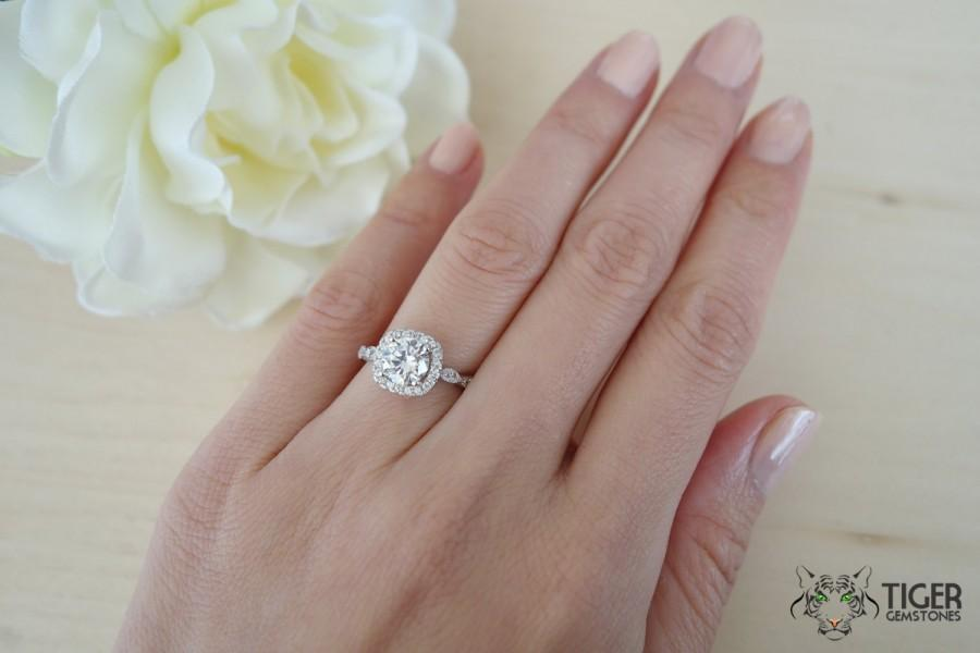 Mariage - 1.25 Ct Halo Vintage Inspired Engagement Ring, Flawless Man Made Diamond Simulant, Art Deco, Wedding, Bridal, Promise Ring, Sterling Silver
