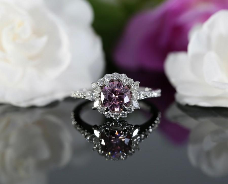 65mm pink moissanite halo engagement ring with diamonds