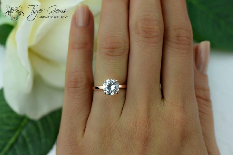 2 Carat 4 Prong Engagement Ring Rose Solitaire Ring Man Made