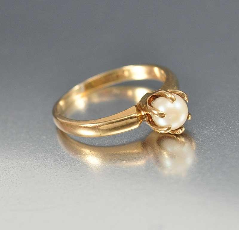 Pearl Ring Art Deco Ring Unique Engagement Ring 10K Gold Ring Deco Engage