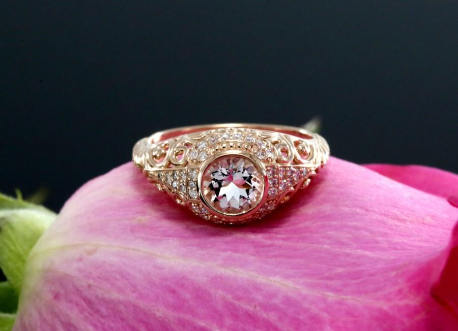 Mariage - Antique Style Morganite Engagement  Ring with Diamonds and Millegrain design (moissanite, platinum, white, yellow and pink gold options)