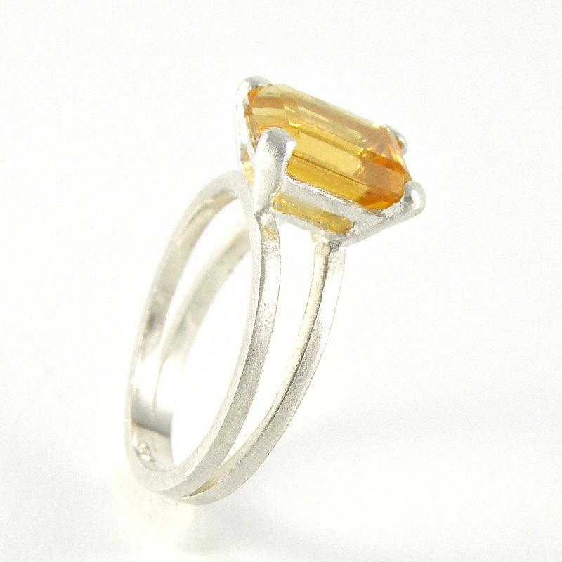 Mariage - Citrine Ring November Birthstone , Citrine Engagement Ring in Sterling Silver , Solitaire Engagement Ring , Emerald Cut Ring , Gemstone Ring