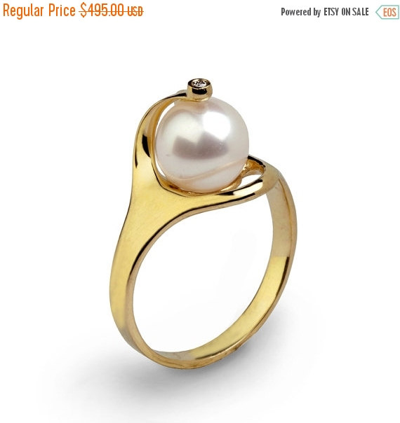 Mariage - 20% off SALE - RA 14k Gold Pearl Ring,  Gold Pearl Engagement Ring, Diamond Pearl Ring, Pearl Diamond Engagement Ring, Pearl Diamond Ring