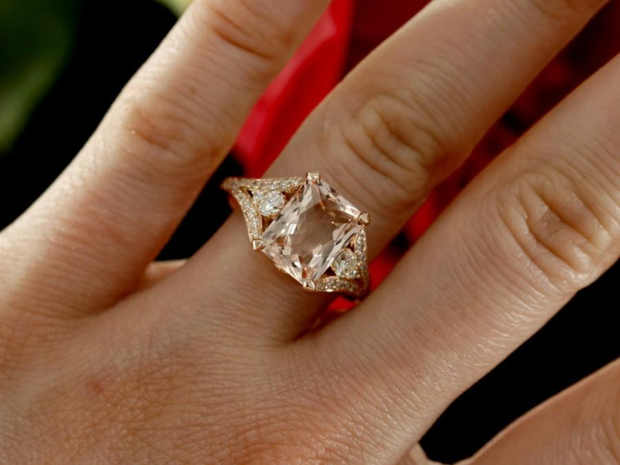 Morganite Engagement Ring with Diamonds and Millgrain design, Emerald Cut  Morganite in Rose Gold (available in white, yellow gold and plat.)