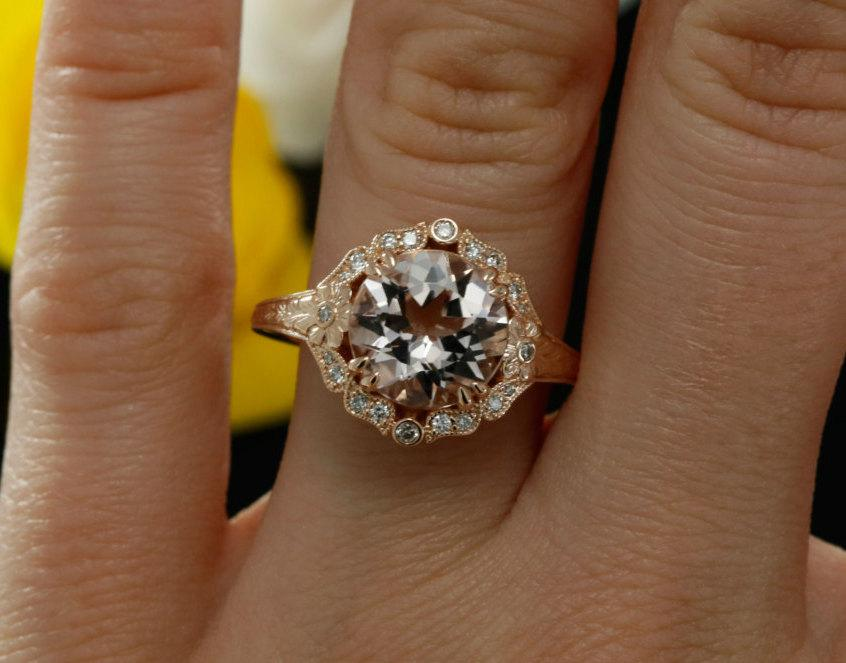 Morganite Halo Engagement Ring With Diamonds Floral Design