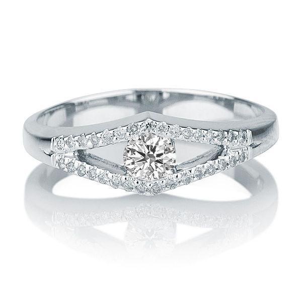 Mariage - Split Shank Ring, Diamond Ring, 14K White Gold Ring, Split Shank Engagement Ring, 0.34 TCW Diamond Engagement Ring