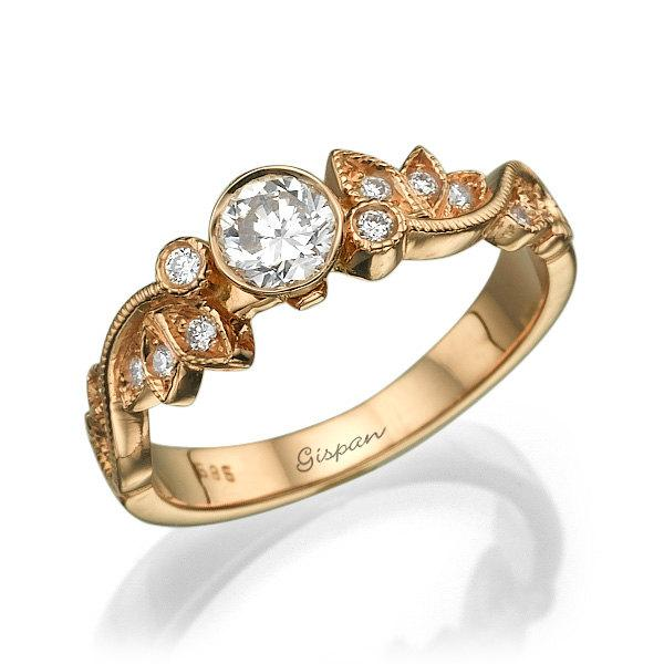 Wedding - Leaf Engagement Ring Diamond Ring Wedding Ring Art Deco Ring Vintage Diamond Ring Rose Gold Antique Engagement Bridal Jewelry leaves