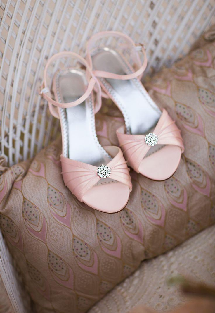 Shoe Dyeable Satin Pleated Shoe With Ornament Weddbook