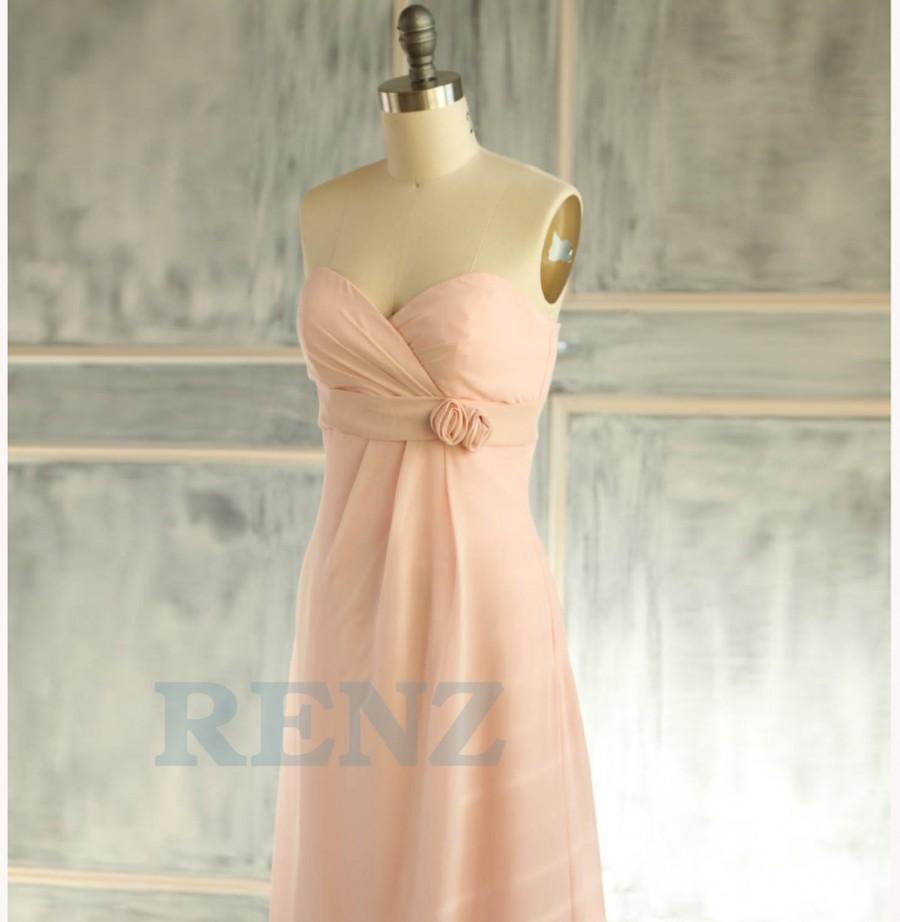 Wedding - 2015 Peach Bridesmaid dress, Sweetheart dress, Strapless dress, Wedding dress, Party dress, Chiffon dress, Formal dress, Prom dress (B087)