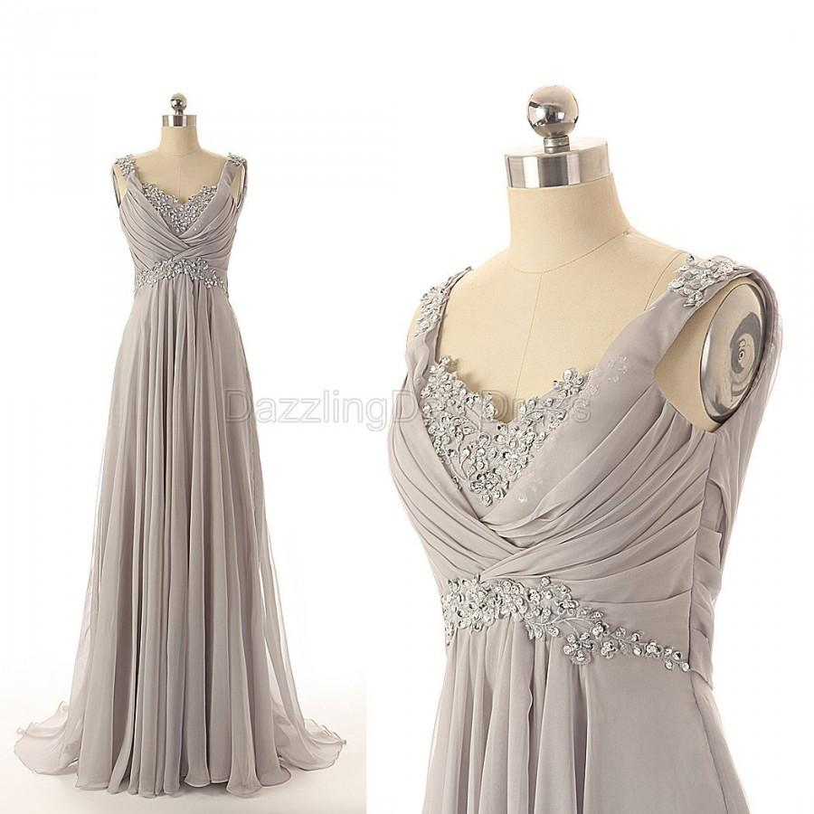 Wedding - Grey Prom Dresses Elegant Beaded Long Bridesmaid Dresses Chiffon Party Gowns Evening Dress Long Women Dress