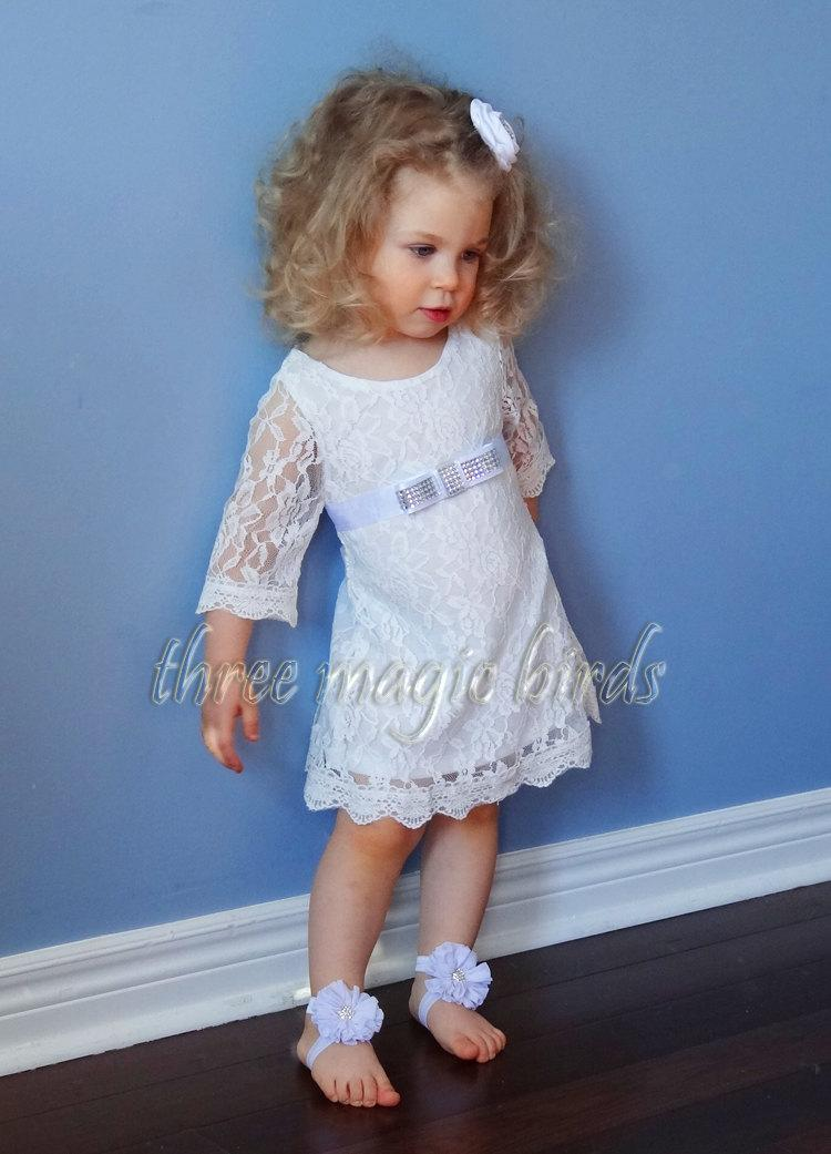 Wedding - Flower Girl Long Sleeve Dress Boho Communion Beach Wedding Bridesmaid Rustic Wedding 1st Birthday Dress Christening Baptism Country Wedding