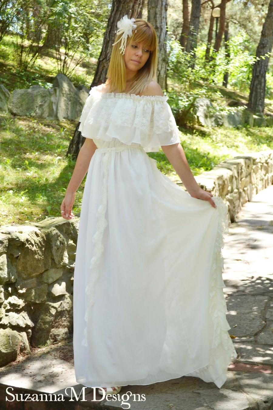 Long Wedding Dress Ivory Lace Wedding Dress Vintage