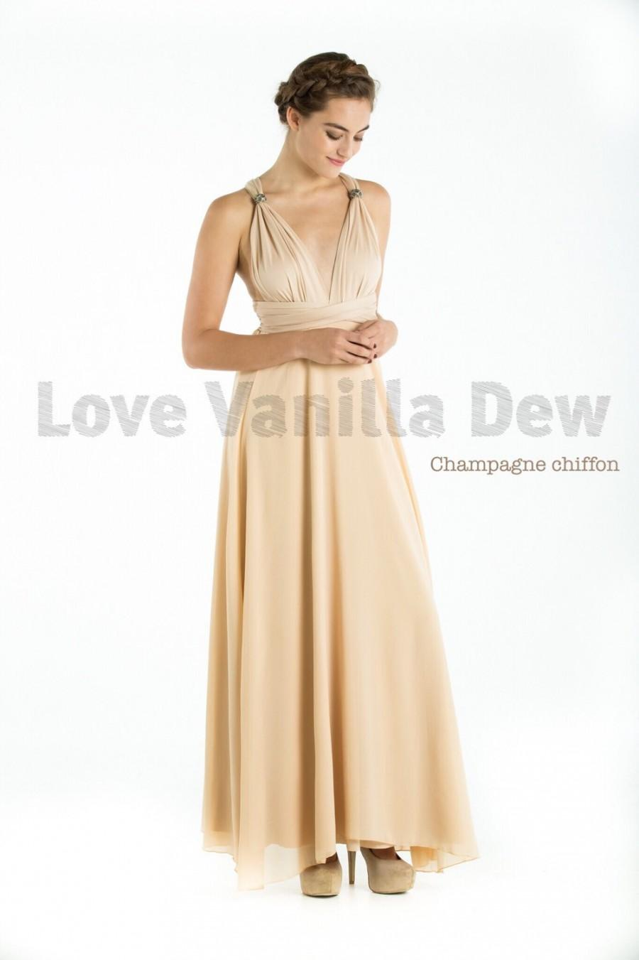 Wedding - Bridesmaid Dress Infinity Dress Champagne with Chiffon Overlay Floor Length Maxi Wrap Convertible Dress Wedding Dress