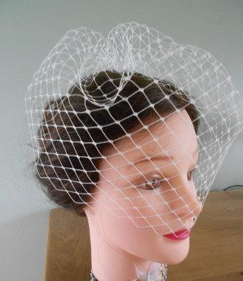 """Mariage - 12"""" Birdcage Veil, Handmade in a choice of 3 colours in either Plain or Spot Net"""