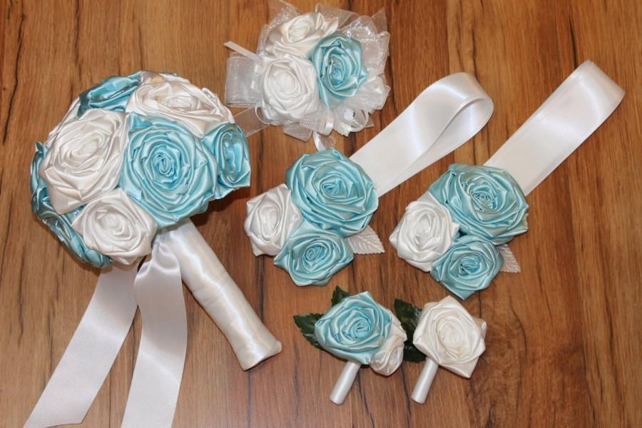 Mariage - FULL PRICE, Budget Wedding, Gulf Blue & White Fabric Bouquet Package, Tiffany, CUSTOM Made, Bridal Bouquet, Bridesmaid Corsage