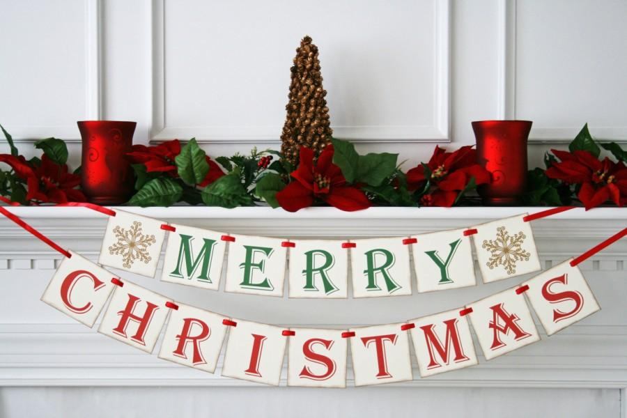 Merry Christmas Banner - Chistmas Photo Prop - Holiday Decoration ...
