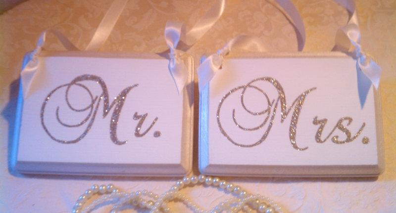 Wedding Signs Bling Mr Mrs Champagne Reception Decoration Glitter Wood Chair Sign Silver Gold
