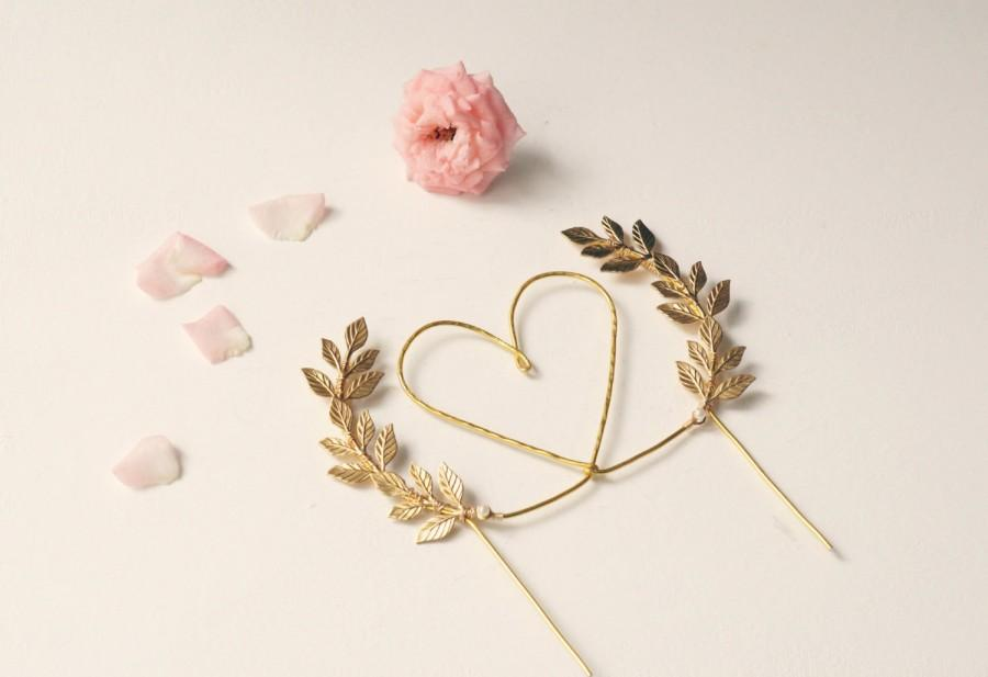 Gold Heart Wedding Cake Topper Heart And Leaves Cake Topper Woodland Cake Topper Rustic Chic