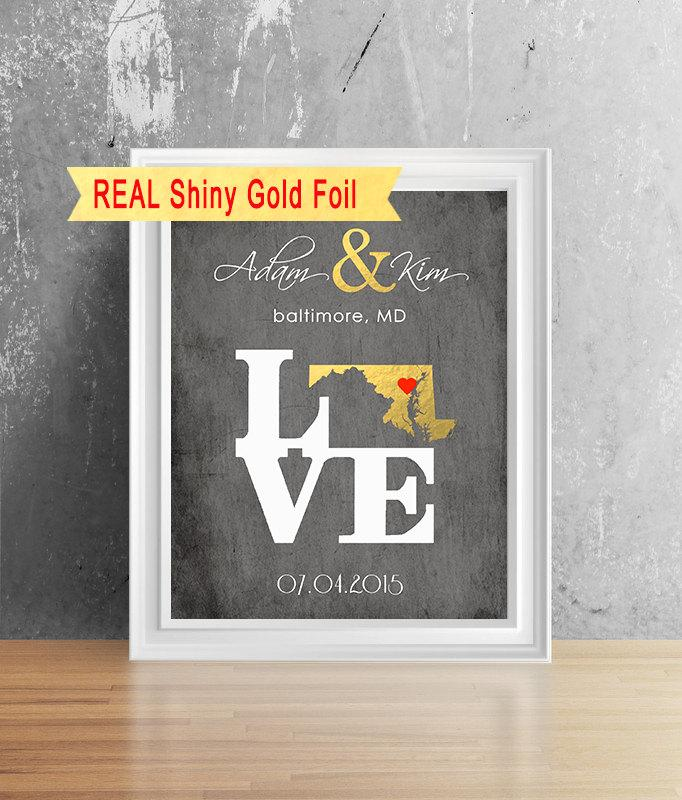 Gold Foil Personalized Wedding Gift Unique Wedding Gift