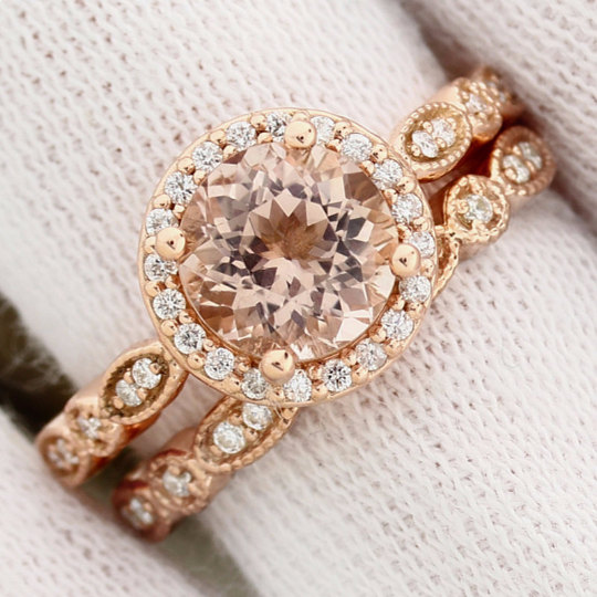 Hochzeit - Art deco Milgrain  Bridal Set Fancy AAA  Morganite Engagement Set 14K Rose Gold Wedding Set(Other metals & stone options available) Gem1160