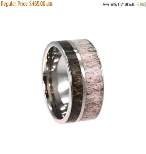Hochzeit - Holiday Sale 10% Off Buckeye Burl Wood, Mens Single Band, Deer Antler Ring, Ring Armor Included