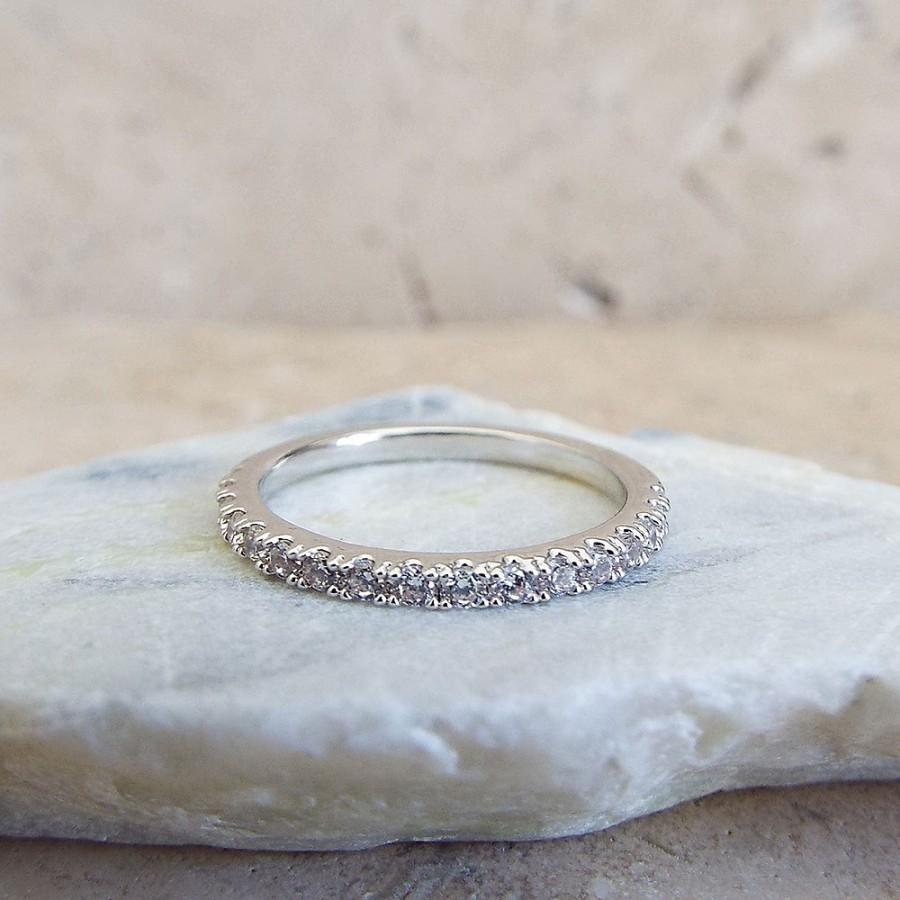 Eternity Ring 15 Mm White Gold Plated High Quality CZ Diamond Stacking Half Rhodium 1 2 Micro Pave Thin Wedding Band