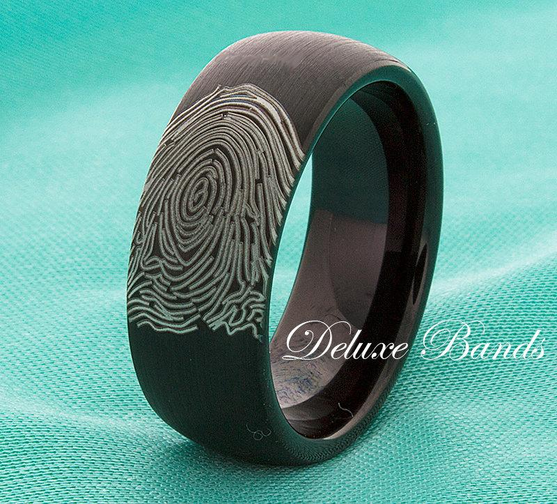 Fingerprint Black Tungsten Wedding Band Tungsten Wedding Ring