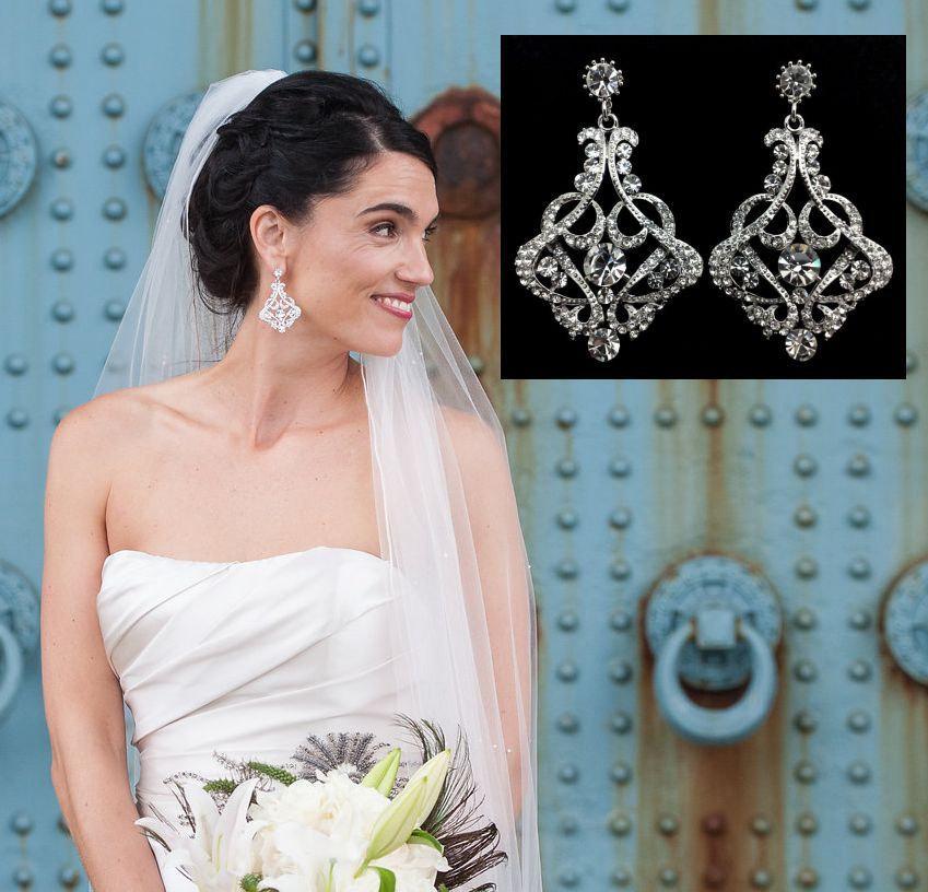 Hochzeit - Statement Bridal Earrings, Art Deco Wedding, Swarovski Crystal Jewelry, Gatsby Jewelry, KARMEN