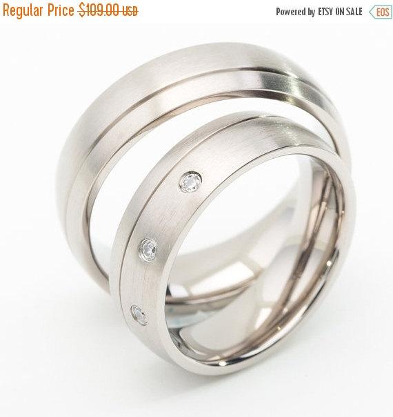 ON SALE Titanium Wedding Ring Sets With Grooved Line Weddbook