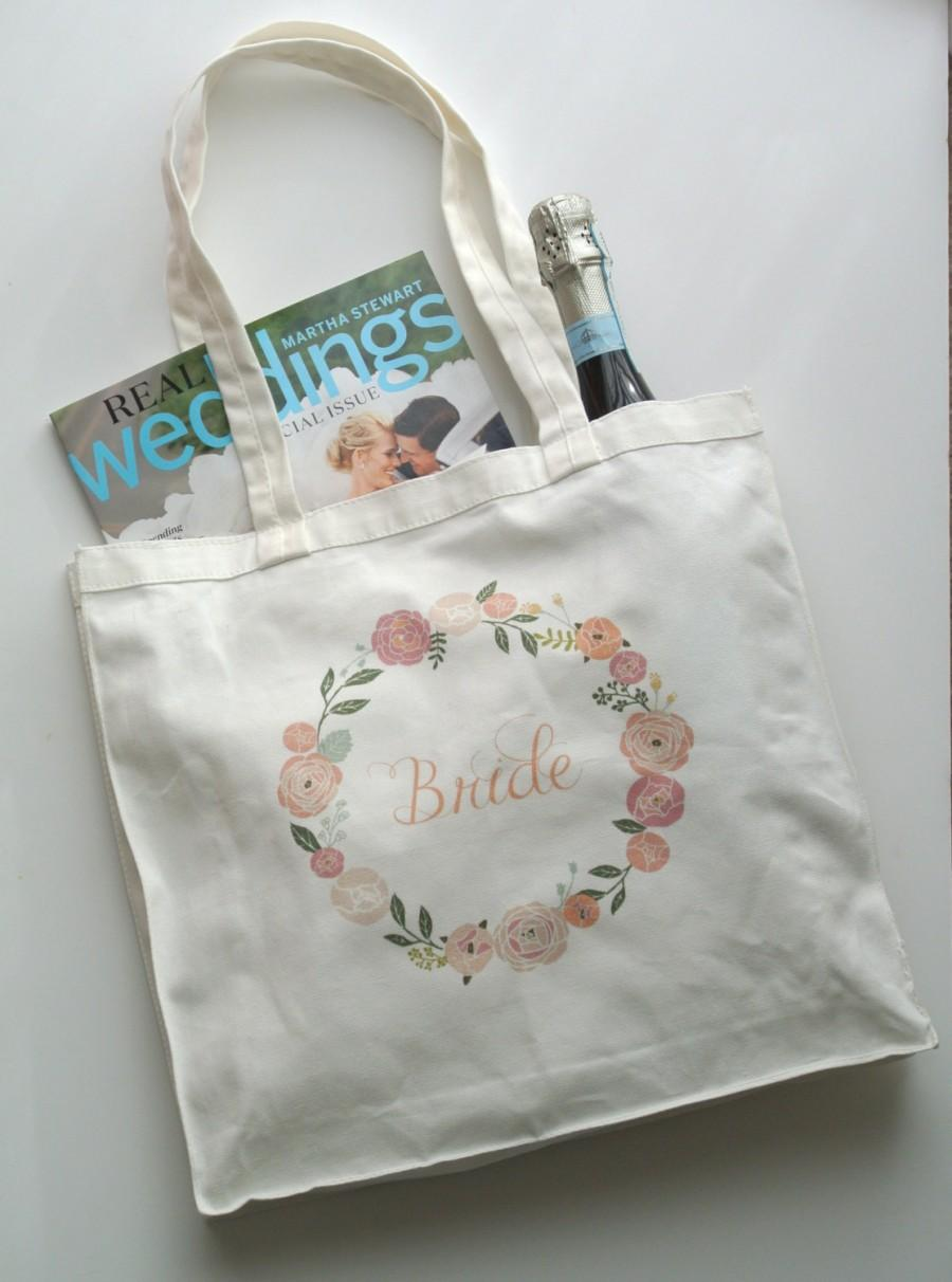 floral bride tote bag wedding gifts bride gift bachelorette engagement gift bridal shower gift