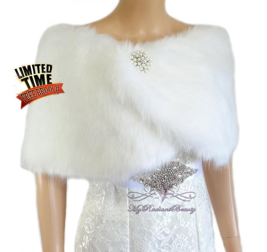 Wedding - Bridal White Faux Fur Wrap, White Bridal Wrap Stole, Wedding Stole, Bridal Wrap, Bridal Stole, Fox Fur FW108-WHI