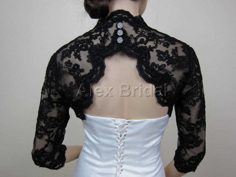 Sale black 3 4 sleeve bridal bolero bridal jacket bridal for Black lace jacket for wedding dress