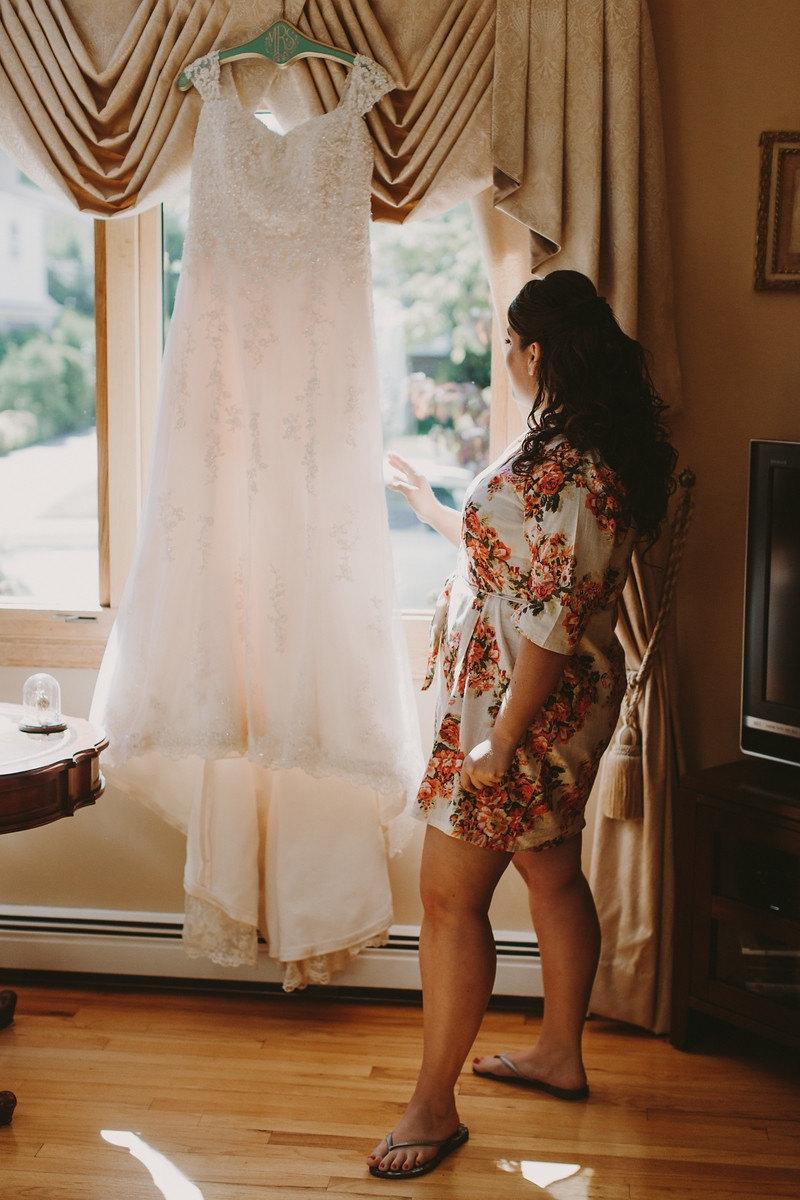 Wedding - White Floral Bridal Robe/ Short Robe for the Bride-to-be/ Cotton Robe - Color code C3
