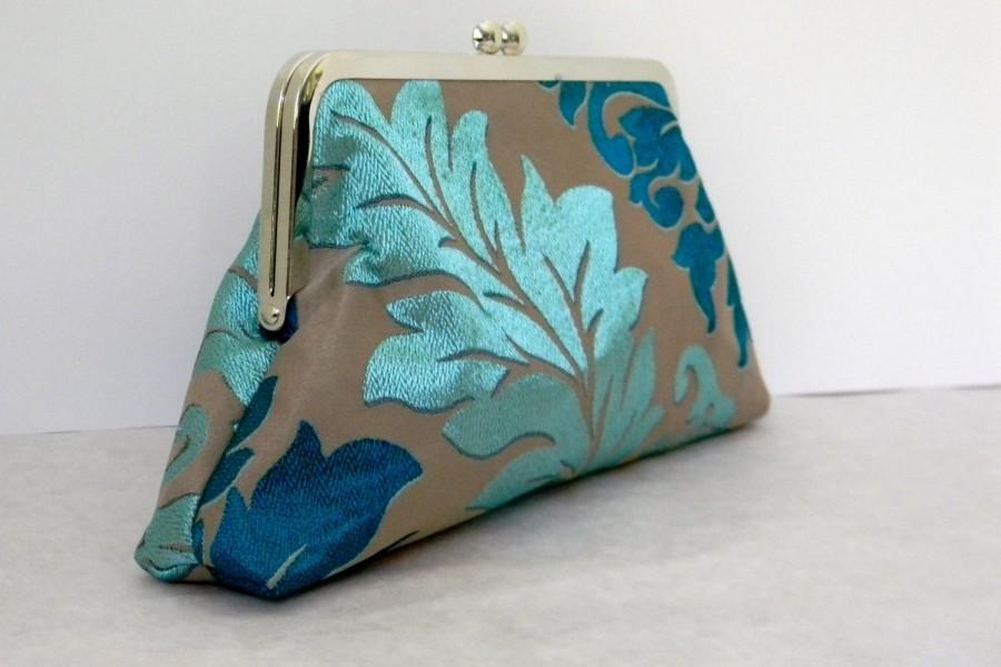 زفاف - Emerald Wedding Clutch, bridal clutch, Holiday Evening Bag  Handbag, bridal, Special Occasion  Jacquard in Aqua and Teal
